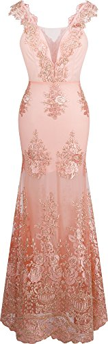 Angel-fashions Women's V Neck Embroidery Lace Flower Straps Mermaid Dress Medium Pink