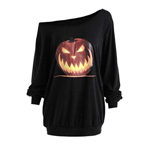 BETTERUU Women Plus Size Long Sleeve Halloween Angry Pumpkin Skew Neck Tee Blouse Tops(Black, L) -