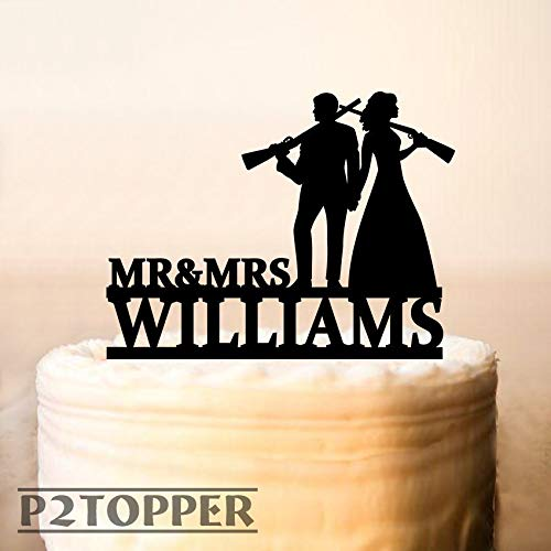 659ParkerRob Wedding Cake Topper The Hunt is Over Cake Topper Bridal Garter Hunter Rifle Gun Wedding Cake Topper with Guns Silhouette - Topper Top New Wedding Cake