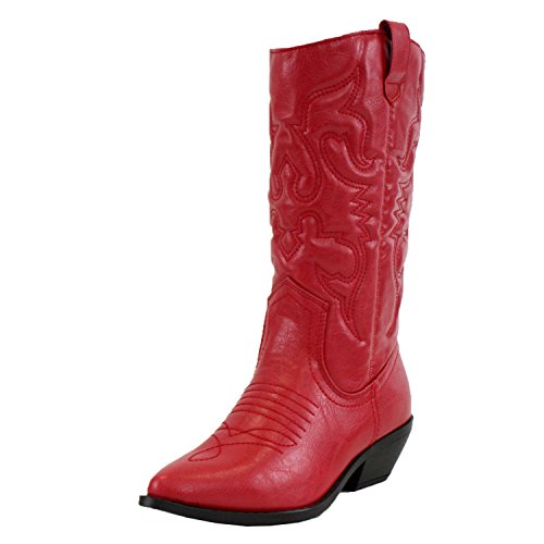 Soda Women's Red Reno Western Cowboy Pointed Toe Knee High Pull On Tabs Boots,Color Reda, Size:6.5 -