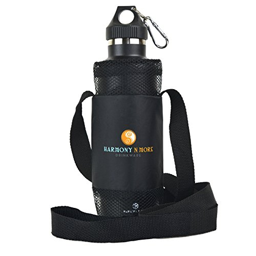 Best Water Bottle Holder – Sling – Pouch - Carrier - Case - Made of Mesh and Durable Nylon, Water Proof, Light Weight, Comfortable Shoulder Strap, Fits Most All Universal Water And Sports (Carrier Nylon Mesh)