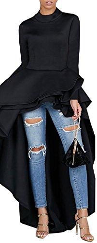 Kearia Women Ruffle High Low Asymmetrical Turtleneck Long Sleeves Bodycon Tops Blouse Shirt Dress Black XXLarge -