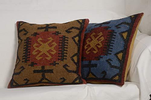 Chouhan Rugs 2 Set of Kilim Cushion Cover Jute Ethnic Pillow Boho Hand Woven Shams Hippie Indian Throw ()
