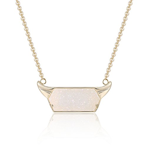 Drusy Quartz Necklace (Iridescent Druzy Pendant Necklace with 14K Gold-Plated over Brass, 16