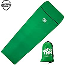 Sleeping Bag Liner by TNH Outdoors - Cotton Polyester Camping and Travel Sheet with Zipper and Compression Sack ! …