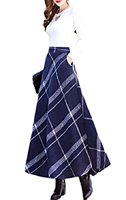 FLCH+YIGE Womens Classic Long Thicken A-Line Winter Woolen Plaid Skirt