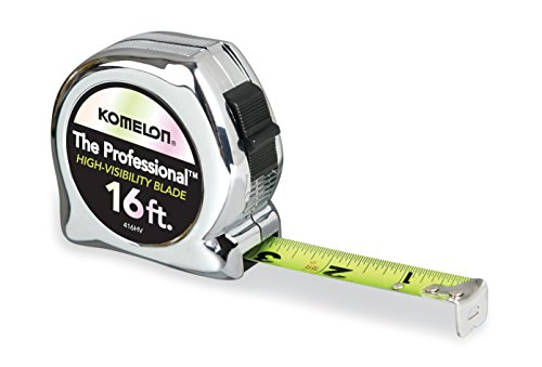 (Komelon 416HV High-Visibility Professional Tape Measure, 16-Feet by 3/4-Inch, Chrome)