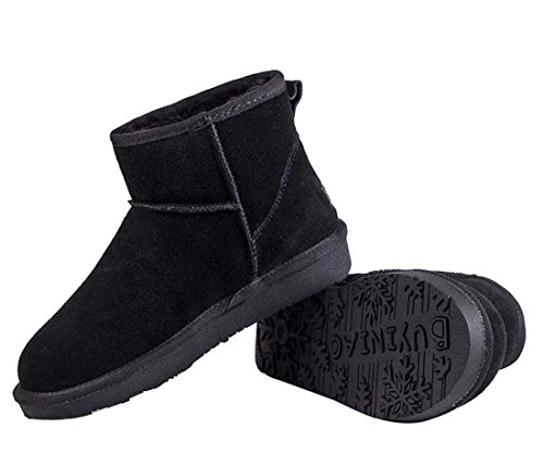 HooH Women's Nubuck Slip On Snow Boots 5854 Black o9ZNp86W2