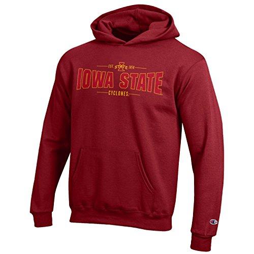 Champion NCAA Youth Long Sleeve Fleece Hoodie Boy's Collegiate Sweatshirt, Iowa State Cyclones, Large