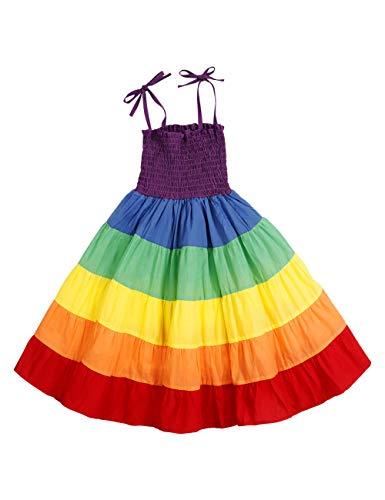 Little Baby Girls Rainbow Dress Toddler Princess Sleeveless Halter Beach Tutu Sundress, Kids Summer Twirl Dress(2-3T)]()