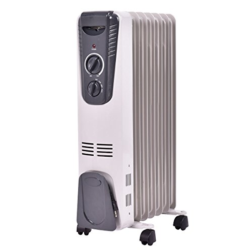 Tangkula Electric Oil Filled Radiator Heater Portable Home Room Radiant Heat 5.7 Fin Thermostat...