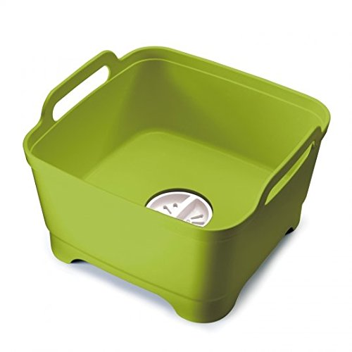 Joseph Joseph 85059 Wash & Drain Wash Basin Dishpan with Draining Plug Carry Handles 12.4-in x 12.2-in x 7.5-in, Green (Best Way To Wash Dishes In Sink)