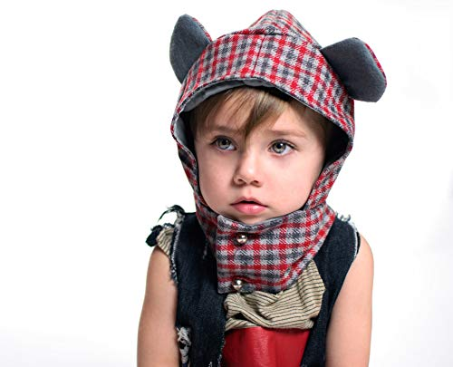 Up-cycle Teddy Bear Plaid Hat for Toddler Child Winter Scarf Hoodie