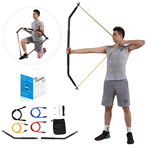 IRON AGE Resistance Band Training Bow Two-Piece Versatile Home Gym Full Body Workout Equipment – Idea for Preacher Curls, Tricep Push Downs, Weightlifting, Rows, Pulldown – Come with 4 Bands((10, 20