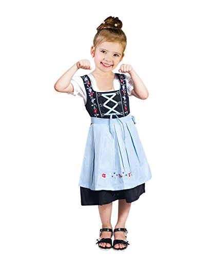 Dirndl World Childrens Dik06, German Bavarian 3 Piece Children Dirndls Dress for Oktoberfest, Blouse, Apron, Size 7 by Dirndl World