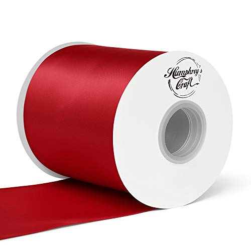 (Humphrey's Craft 4 inch Double Face Solid Satin Ribbon 100% Polyester Ribbon Roll -25 Yard (Red))