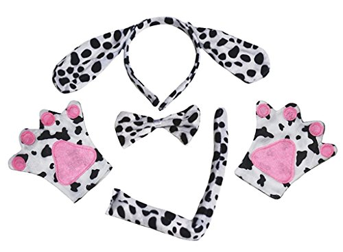 Petitebella Headband Bowtie Tail Gloves Unisex Children 4pc Costume (Dalmatians Dog)