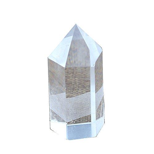 Yuanxi Pack of 3 Chakra Column Hexagonal Reiki Healing Crystal Pointed Natural Gems Polished Tumbled Stones Mini Decoration Ornaments 20mm Rock Crystal Quartz (60mm) ()