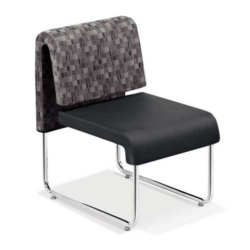 OFM Uno Series Lounge Chair, Nickel/Black