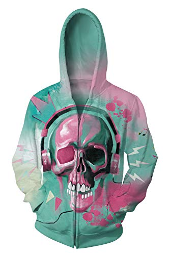 (Uideazone Men Women 3D Ugly Funny Skull Candy Printing Hooded Zipper Hoodie)