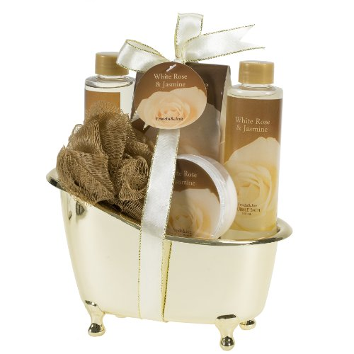 Luxurious & Elegant Bath Spa Gift Set For Women By Freida Joe – Deluxe White Rose Jasmine Gold Tub Spa Gift Basket, Hydrating & Refreshing Bathroom Gel, Bubble Bath, Lotion - For The Basket Bath