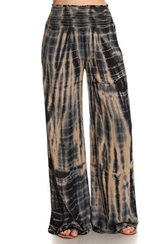 HeyHun Women's Casual Bohemian Tie Dye Gauze Hippie Wide Leg Palazzo Pants - Khaki Black (Leg Gauze Pant)