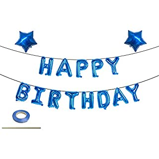 Blue Happy Birthday Balloons, Happy Birthday Banner Foil Letter Balloons for Birthday Decorations and Party Supplies