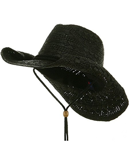 MG Ladies Toyo Straw Cowboy Hat BLACK