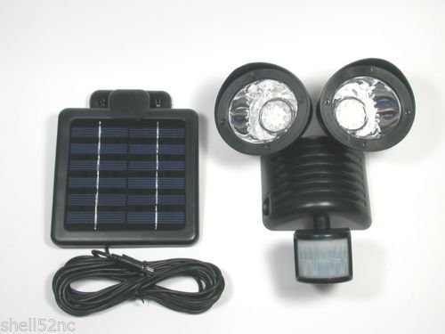 Motion Sensor Solar Security Spotlight 22 LED Dual Outdoor Flood Light - Black