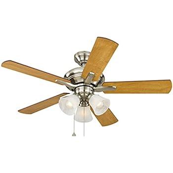 Harbor Breeze 40198 Lansing 42 In Brushed Nickel Indoor Downrod Mount Ceiling Fan With Light Kit