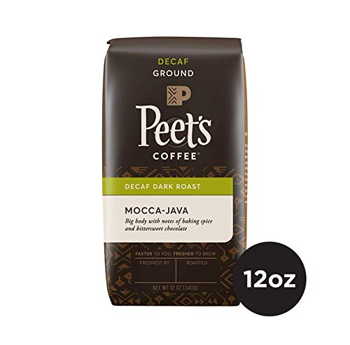 Peet's Coffee Decaf Mocca-Java Dark Roast Ground Coffee, 12 Ounce Bag Water Process Decaffeinated Coffee