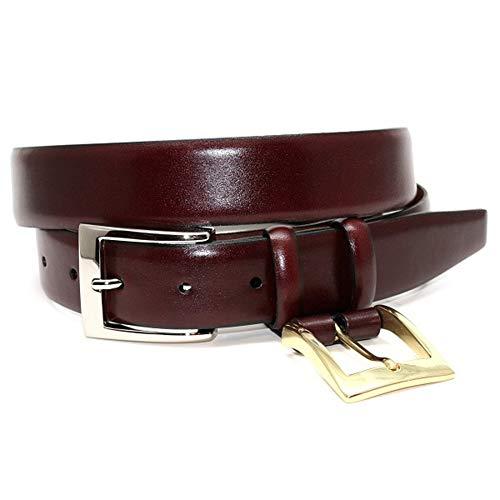 (Italian Calfskin Double Buckle Option Dress Belt - Burgundy/Cordovan 46)