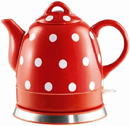 Ceramic Electric Kettle with Red White Polka Dots