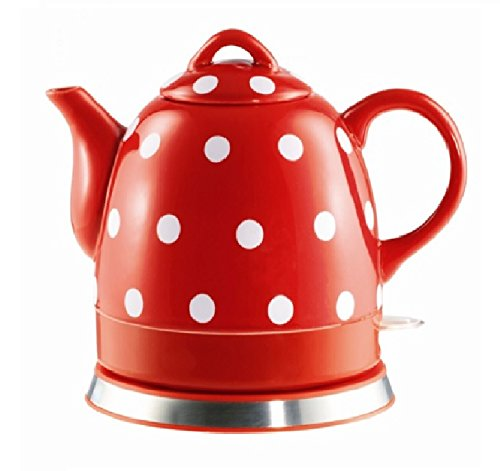 mic Electric Kettle with Red White Polka Dots 13581! ()