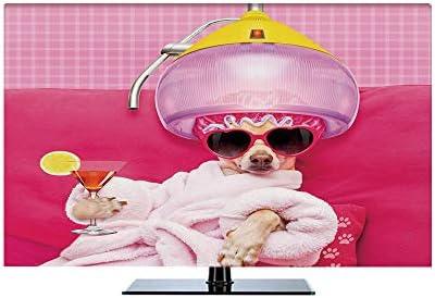液晶テレビカバー 北欧風 防塵 汚れ防止 65インチのテレビに適用 装饰布 テレビを見ることができる 防風 面白い チワワ犬リラックスして横になっているウェルネススパファッション子犬コミックプリント装飾 マゼンタベビーピンク