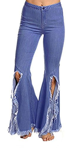 Chartou Women's Asymmetric Tassel Flared Slit Ripped Jeans Denim Pants (XX-Large, Blue) -