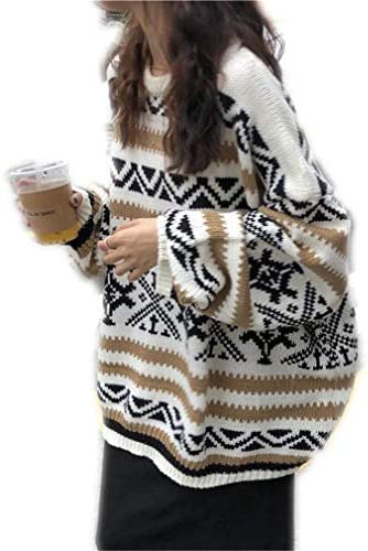 OTNZQZYF Jerseys Mujer Impreso Tallas grandes 2XL Ocuello Dulce Casual Mujer Suéteres de invierno Oversize