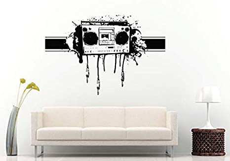 Wall Decals Cute Graffiti Audio Aux Cords Boom Box Retro Old School Music Player A Track Cassette Tape Radio Wall Decal Vinyl Sticker Mural Room Decor Made In Usa Fast Delivery Home Kitchen