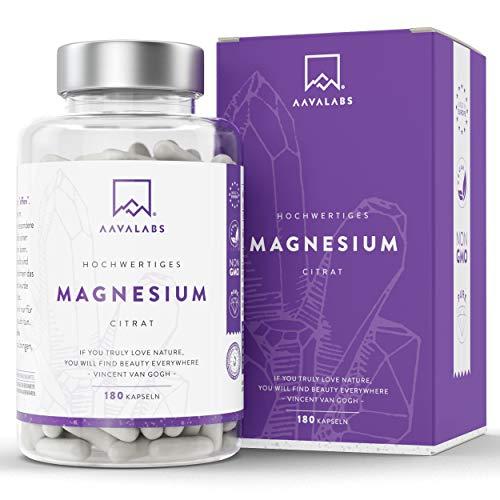 Magnesiumcitrat Kapseln [ 400 mg] 180 Stück von AAVALABS - 100% Vegan & NON-GMO