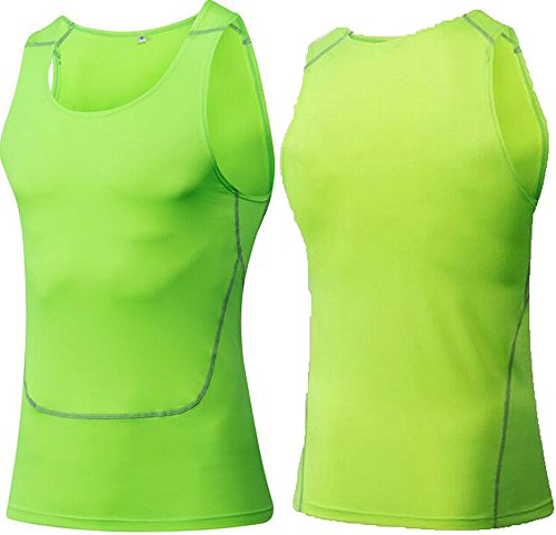Findci Mens Breathable Running Cool Sports Tight Sleeveless Shirt (M, Green)