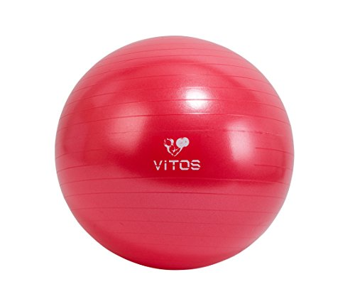 Vitos Fitness Anti Burst Stability Ball By EXTRA THICK Non Slip Supports 2200LB for Fitness Exercise Birth Balance Yoga Workout Guide Quick Pump Included Professional Quality Design (Red, 55 cm) by Vitos Fitness