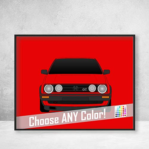 Volkswagen Golf GTI MK2 Poster Print Wall Art Decor Handmade