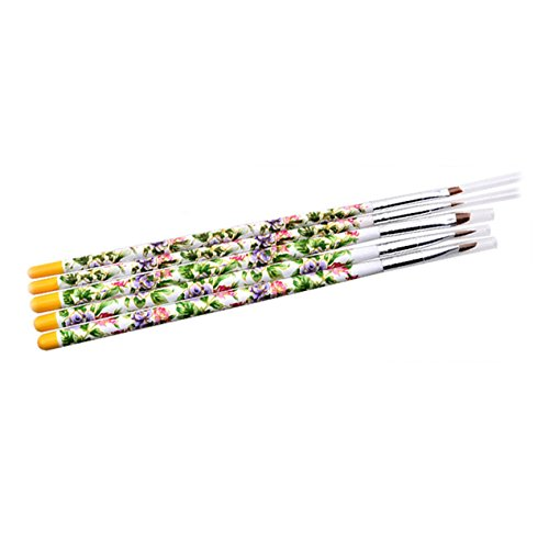 5 Piece Nail Brushes Painting Acrylic Pen Professional Soft Nails Art Brush Tool Kits Excellent Popular Pedicures Toenail Pads Lacquer Natural Cleaner French Stencils Glitter Girls - Jewel Pen Princess Glitter