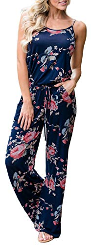 (Angerella Women's Floral Jumpsuit Casual Loose Spaghetti Cute Wide Leg Long Pant Rompers Blue,XL)