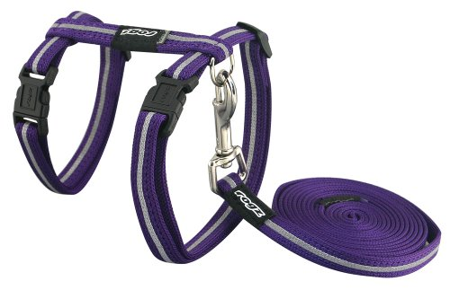 Rogz Reflective Nylon Cat Leash and Harness Combination Set, escape proof for walking and fully adjustable to fit most breeds, Purple