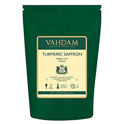 VAHDAM, Turmeric Saffron Herbal Tea Loose Leaf (50 Cups)| INDIA'S MAGIC HERB | Blend Of Turmeric Tea, Saffron Tea & Fresh Spices | 100% NATURAL TISANE Tea | Brew as Hot or Iced Tea |3.53oz