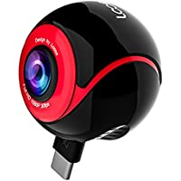 720°Panoramic Camera Degree Dual Spherical Asteroid Fisheye Lens 1080P HD Capture VR Live Full View Video Sports Action Panorama Camera Recorder for Android Smartphones (Red/Black-Round)