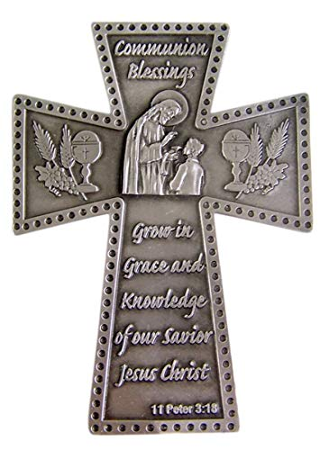 Religious Home Decor Silver-Toned Pewter Communion Blessings Boy's First Communion Hanging Wall Cross, 5 7/8 inches (Boy First Communion Cross)