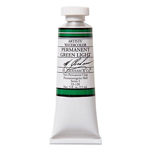 M. Graham 1/2-Ounce Tube Watercolor Paint, Permanent Green Light