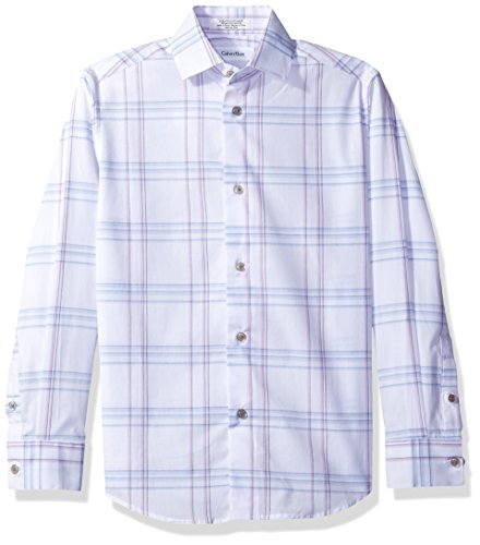 Price comparison product image Calvin Klein Big Boys' Long Sleeve Echo Windowpane Shirt, White, 12